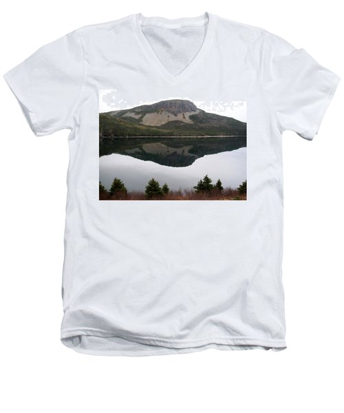 Men's V-Neck T-Shirt featuring the photograph Sugarloaf Hill Reflections by Barbara Griffin