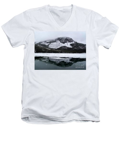 Men's V-Neck T-Shirt featuring the photograph Sugarloaf Hill Reflections In Winter by Barbara Griffin
