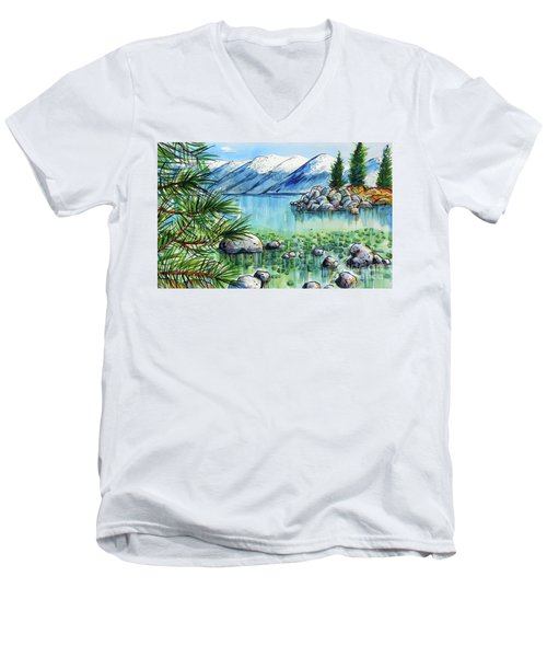 Summer At Lake Tahoe Men's V-Neck T-Shirt by Terry Banderas