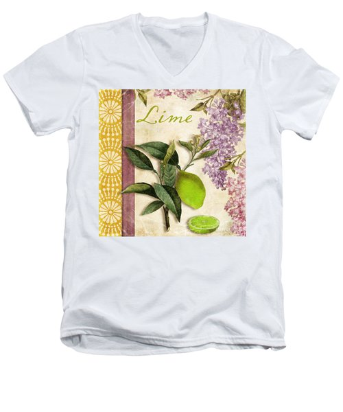 Summer Citrus Lime Men's V-Neck T-Shirt by Mindy Sommers