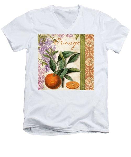 Summer Citrus Orange Men's V-Neck T-Shirt by Mindy Sommers