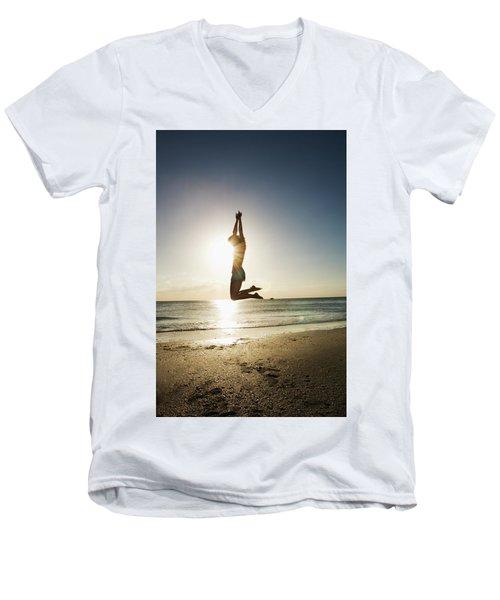 Summer Girl Summer Jump  Men's V-Neck T-Shirt