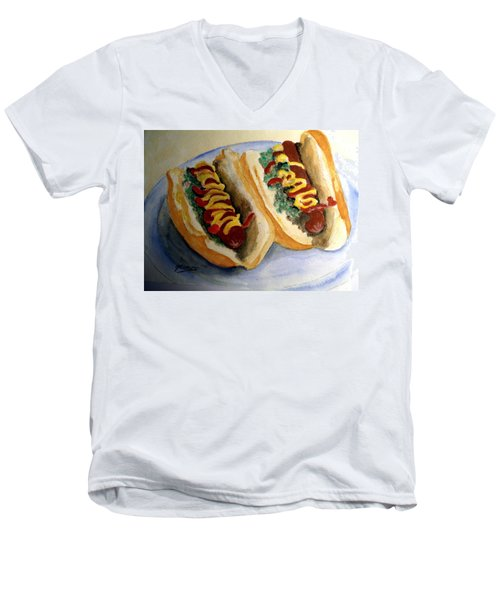 Men's V-Neck T-Shirt featuring the painting Summer Hot Dogs by Carol Grimes