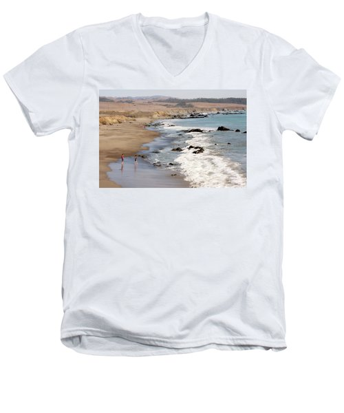 Men's V-Neck T-Shirt featuring the photograph Summer In San Simeon by Art Block Collections