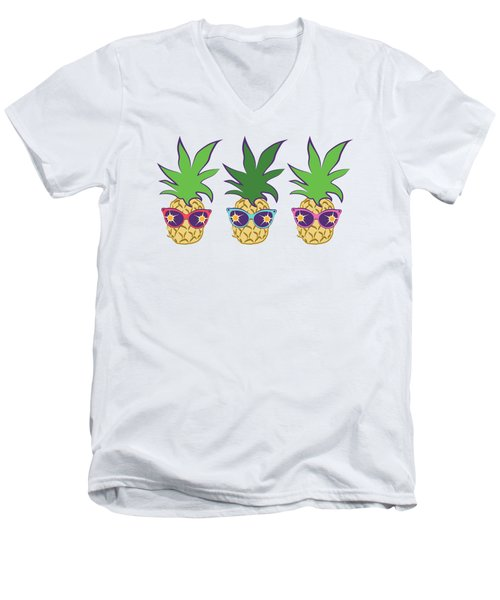 Summer Pineapples Wearing Retro Sunglasses Men's V-Neck T-Shirt by MM Anderson