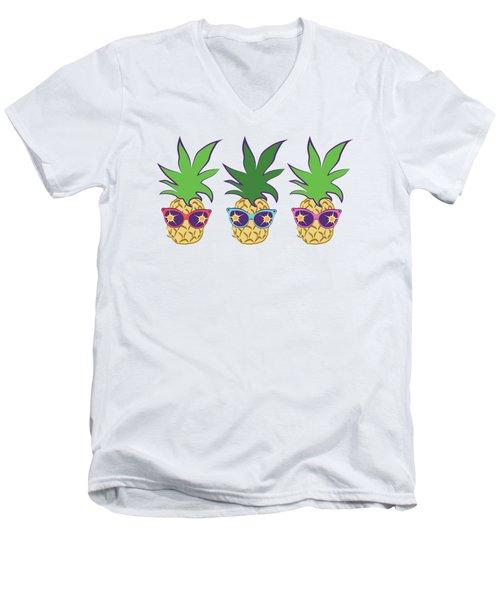 Summer Pineapples Wearing Retro Sunglasses Men's V-Neck T-Shirt