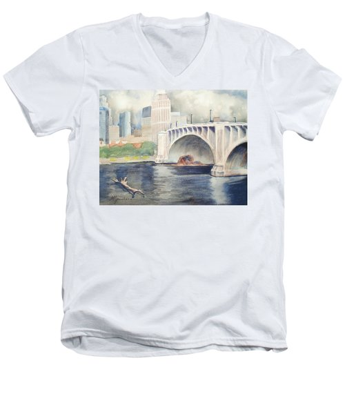 Men's V-Neck T-Shirt featuring the painting Summer Rain by Marilyn Jacobson