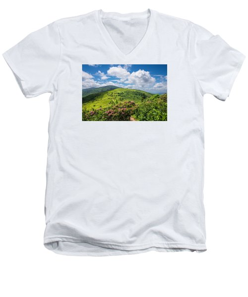 Summer Roan Mountain Bloom Men's V-Neck T-Shirt by Serge Skiba