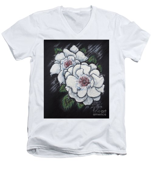 Summer Roses Men's V-Neck T-Shirt by Scott and Dixie Wiley