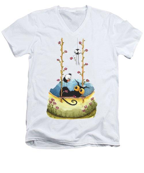 Summer Swing Men's V-Neck T-Shirt by Lucia Stewart