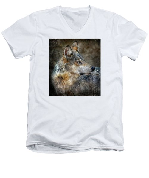 Summertime Coated Wolf Men's V-Neck T-Shirt by Elaine Malott