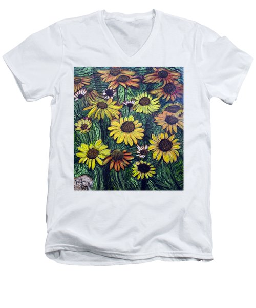 Summertime Flowers Men's V-Neck T-Shirt by Ron Richard Baviello
