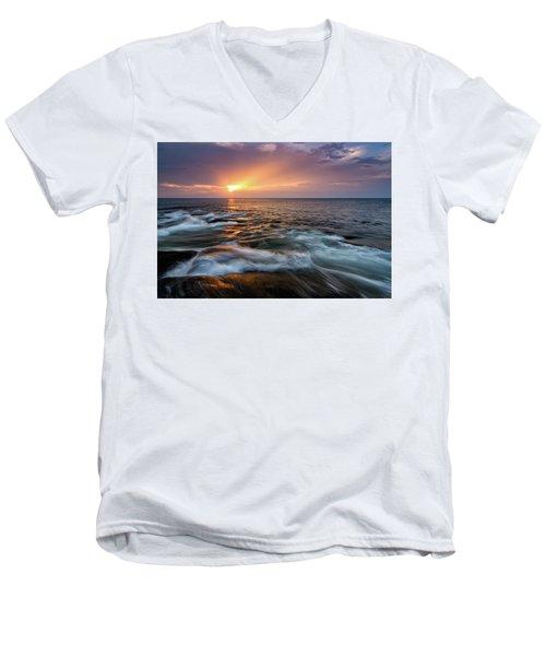 Sun Beams Halibut Pt. Rockport Ma. Men's V-Neck T-Shirt by Michael Hubley