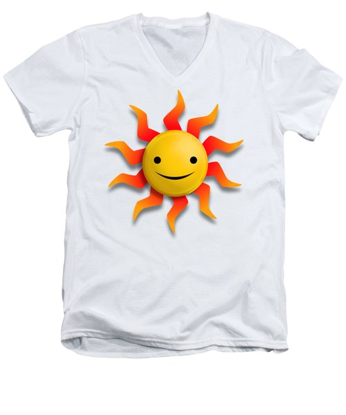 Men's V-Neck T-Shirt featuring the digital art Sun Face No Background by John Wills