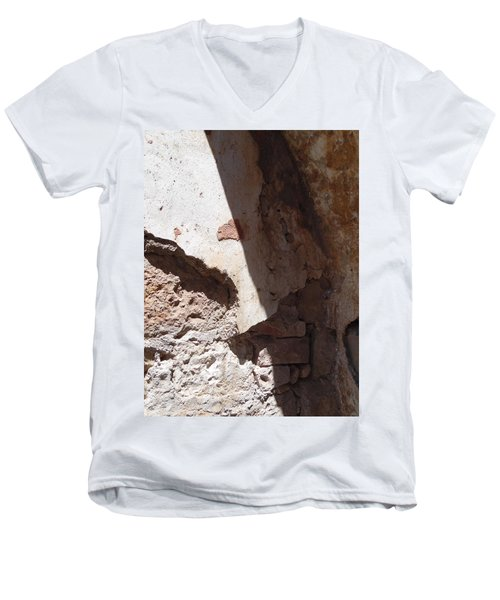 Men's V-Neck T-Shirt featuring the painting Sun On Stone by Esther Newman-Cohen