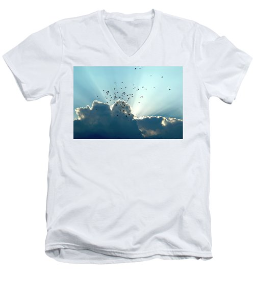 Sun Ray Aerobatics Blue Sky Men's V-Neck T-Shirt