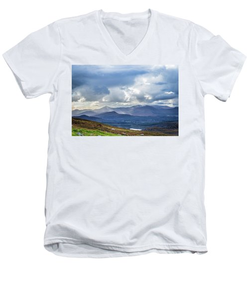 Men's V-Neck T-Shirt featuring the photograph Sun Rays Piercing Through The Clouds Touching The Irish Landscap by Semmick Photo