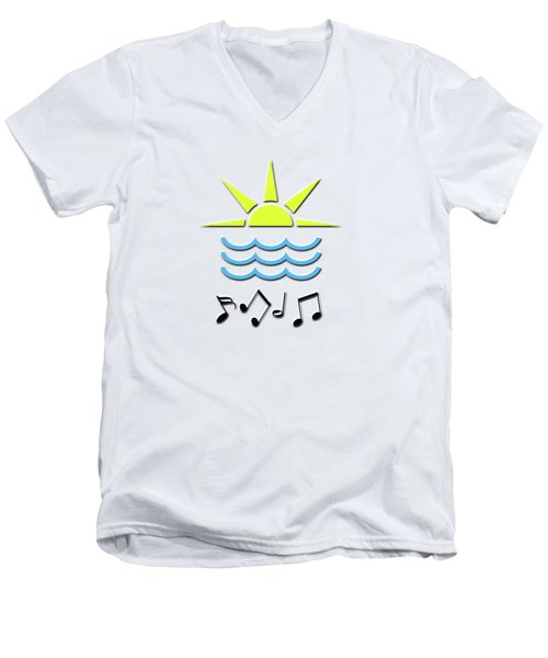 Men's V-Neck T-Shirt featuring the digital art Sun, Sea And Music by Linda Prewer