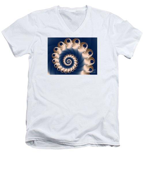 Men's V-Neck T-Shirt featuring the digital art Sunday Spiral by Karin Kuhlmann