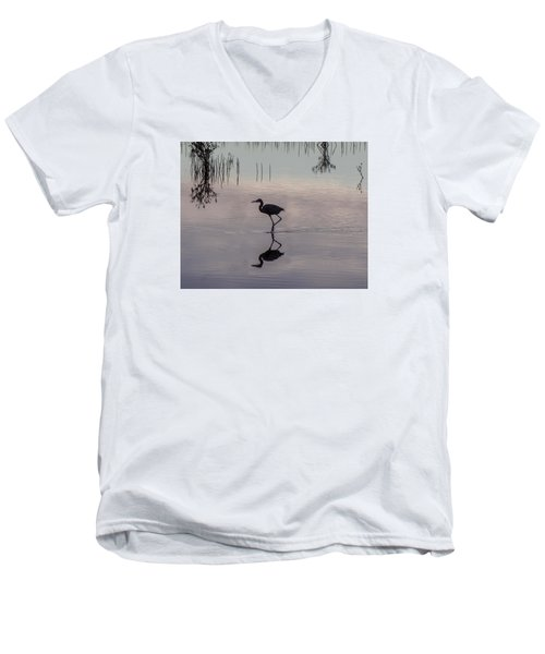 Sundown Heron Silhouette Men's V-Neck T-Shirt