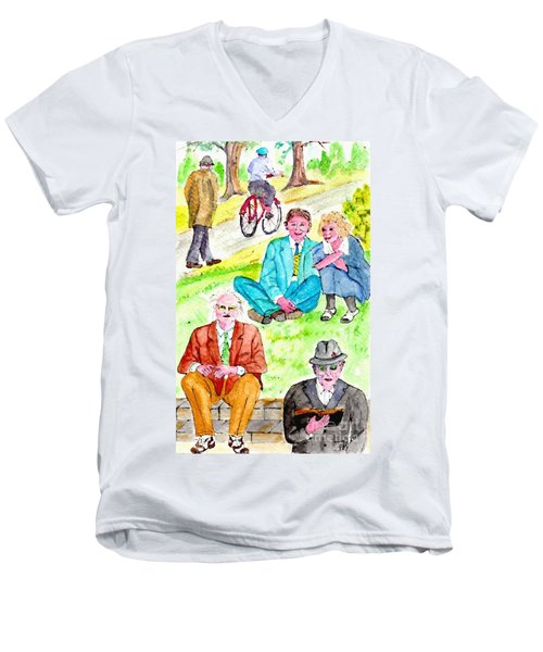 Sunday Morning In Prospect Park Men's V-Neck T-Shirt