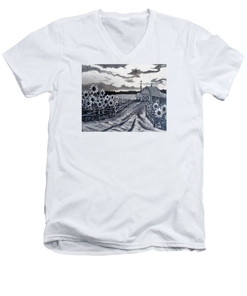 Sunflower Farm Men's V-Neck T-Shirt by Kevin F Heuman