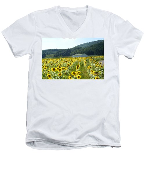 Sunflower Field Men's V-Neck T-Shirt by Annlynn Ward