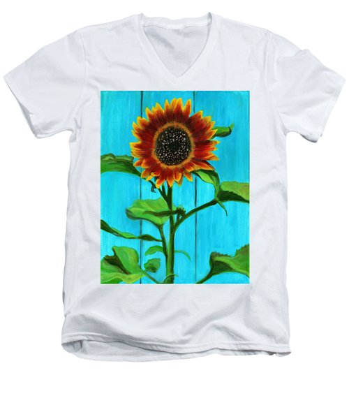 Sunflower On Blue Men's V-Neck T-Shirt