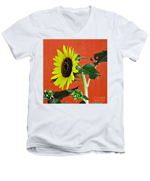 Men's V-Neck T-Shirt featuring the photograph Sunflower On Red 2 by Sarah Loft
