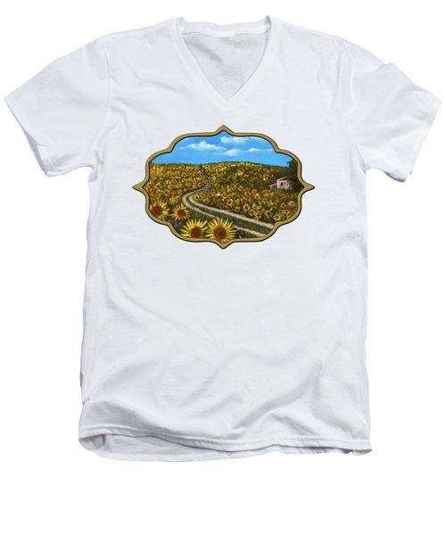 Men's V-Neck T-Shirt featuring the painting Sunflower Road by Anastasiya Malakhova