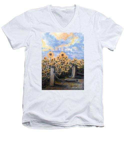Sunflowers At Rest Stop Near Great Sand Dunes Men's V-Neck T-Shirt