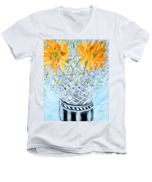 Sunflowers In A Vase. Painting Men's V-Neck T-Shirt