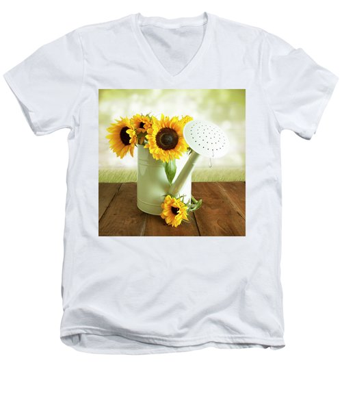 Sunflowers In An Old Watering Can Men's V-Neck T-Shirt