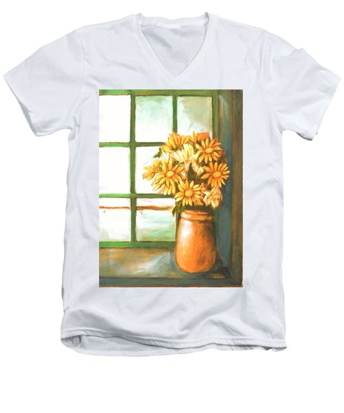Men's V-Neck T-Shirt featuring the painting Sunflowers In Window by Winsome Gunning
