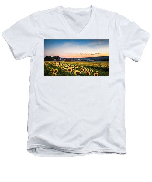 Sunflowers, Moon And Stars Men's V-Neck T-Shirt by Eduard Moldoveanu