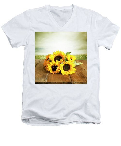 Sunflowers On A Table Men's V-Neck T-Shirt