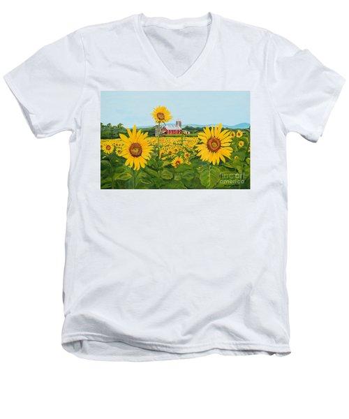 Sunflowers On Route 45 - Pennsylvania- Autumn Glow Men's V-Neck T-Shirt