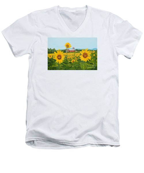 Sunflowers On Route 45 - Pennsylvania- Autumn Glow Men's V-Neck T-Shirt