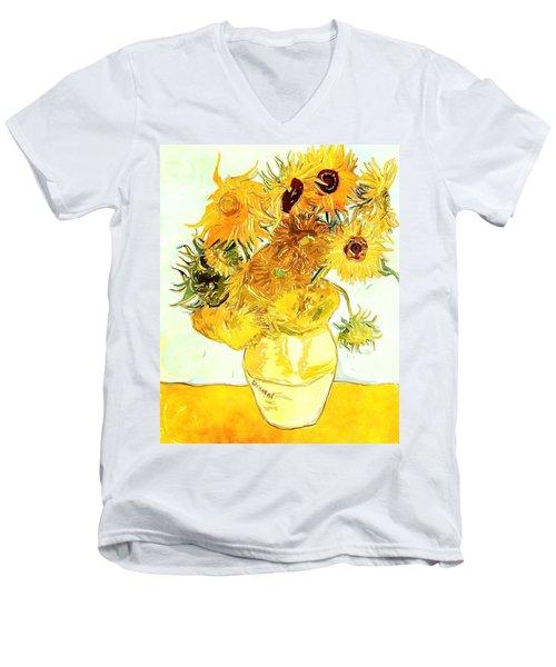 Sunflowers Van Gogh Men's V-Neck T-Shirt
