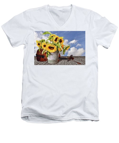 Sunflowers With Violin Men's V-Neck T-Shirt