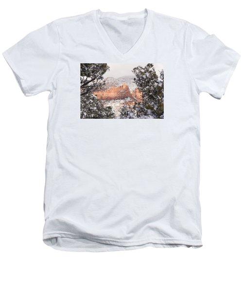 Men's V-Neck T-Shirt featuring the photograph Sunlit Red by Laura Pratt