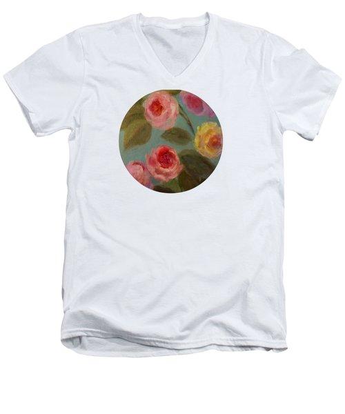Sunlit Roses Men's V-Neck T-Shirt by Mary Wolf