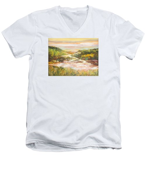 Sunlit Stream Men's V-Neck T-Shirt by Glory Wood