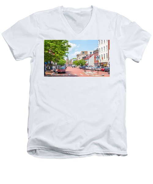 Men's V-Neck T-Shirt featuring the photograph Sunny Day On Main by Charles Kraus