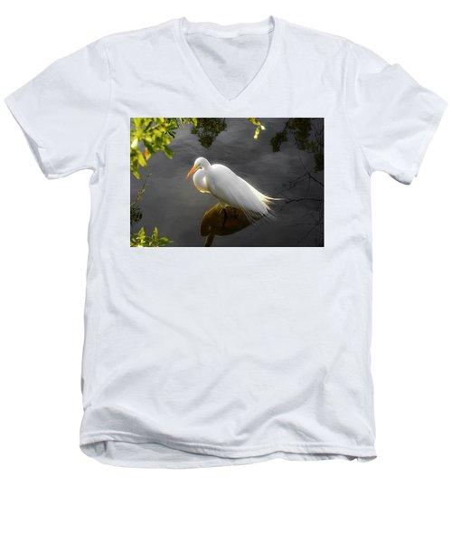 Sunny Egret Men's V-Neck T-Shirt by Josy Cue