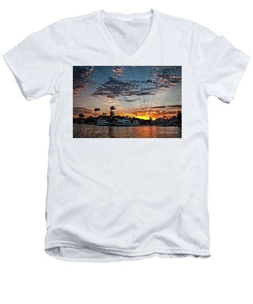 Sunrays Over Huntington Harbour Men's V-Neck T-Shirt