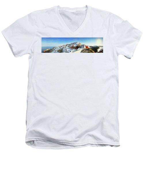 Sunrise At Oia Men's V-Neck T-Shirt
