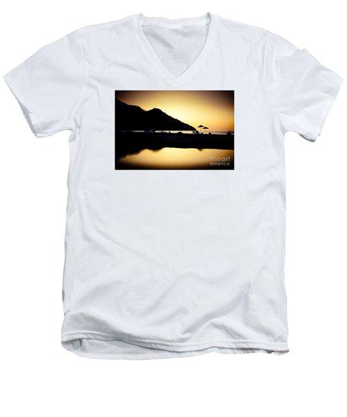 Sunrise At Sea Coast Brown Men's V-Neck T-Shirt