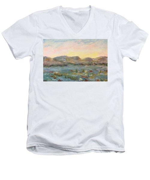 Sunrise At The Pond Men's V-Neck T-Shirt