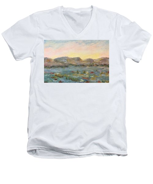 Sunrise At The Pond Men's V-Neck T-Shirt